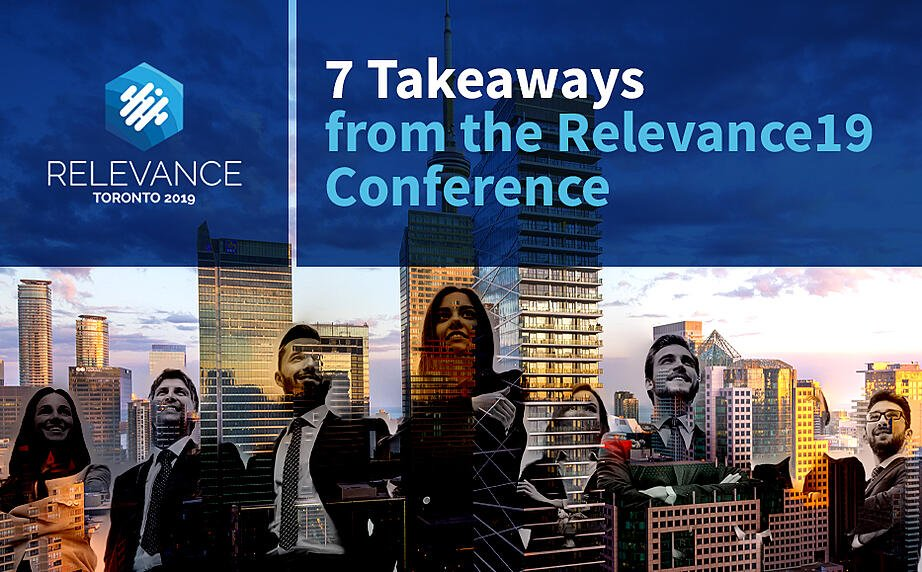 Blue and white logo of the Relevance Toronto 2019 - 7 Takeaways from the Relevance19 Channel Conference