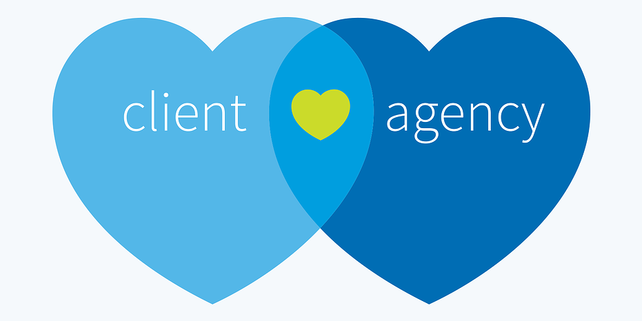 Two hearts intersect to form a third heart signifying client and agency relationship.
