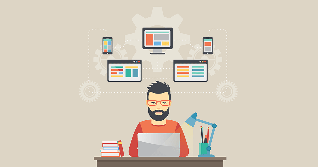 Illustration of managed service provider on a desk with his laptop and illustrations of website design, mobile optimization and other marketing elements